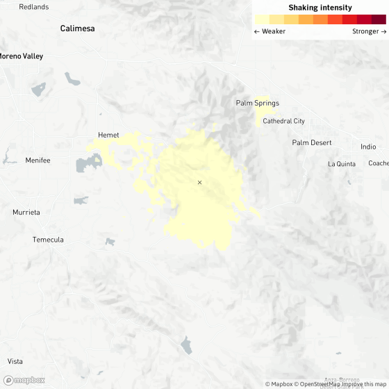 A map shows the location of a 3.5-magnitude earthquake that occurred near Valle Vista, Calif.