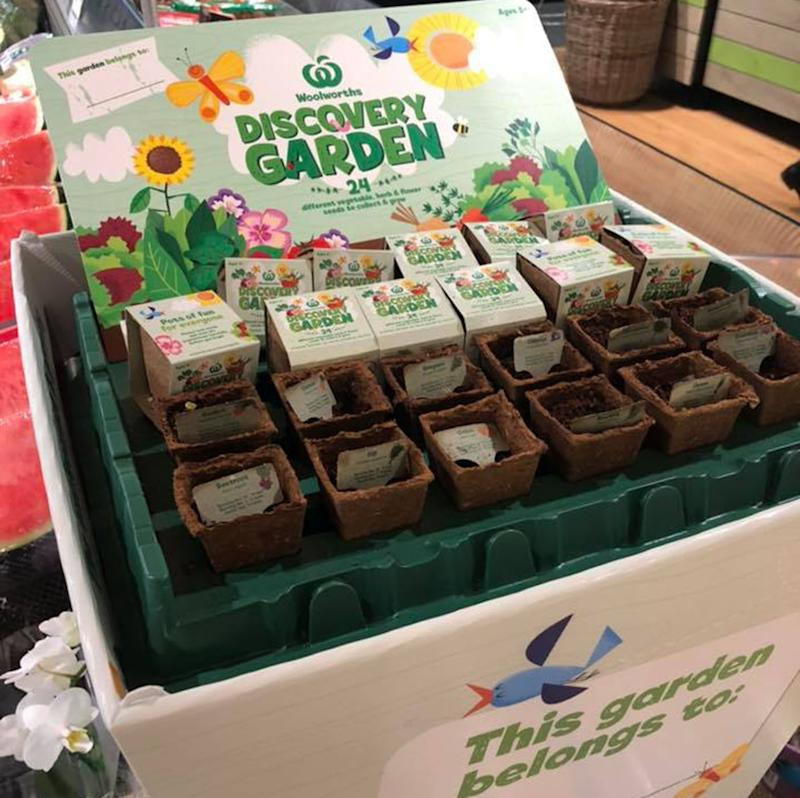 A Woolworths Discovery Garden display at a Noosa supermarket ahead of the official September start date.