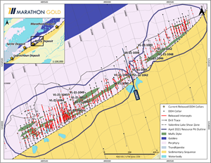 Location of Berry Deposit Exploration Drill Hole Collars VL-21-1039 to VL-21-1053