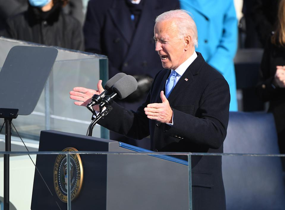 President Joe Biden delivers an address during the 2021 Presidential Inauguration of President Joe Biden and Vice President Kamala Harris at the U.S. Capitol.
