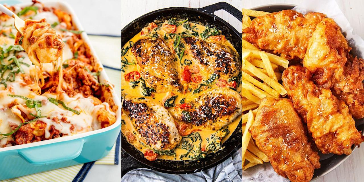 """<p>The most important decision you have to make every day is what to have for <a href=""""https://www.delish.com/uk/cooking/recipes/g32768299/easy-dinner-recipes/"""" target=""""_blank"""">dinner</a>. What's going to satisfy your evening cravings after work? Fill you up (reasonably) and make you feel all happy inside? Well, we've rounded up a bunch of delicious dinner recipes (61 to be exact) that will most certainly give you the dinner inspiration you need to pack your week with easy, incredibly flavourful and downright amazing dinners. Go wild over a <a href=""""https://www.delish.com/uk/cooking/recipes/a30621972/beef-massaman-curry/"""" target=""""_blank"""">Beef Massaman Curry</a>, a classic <a href=""""https://www.delish.com/uk/cooking/recipes/a30119158/cumberland-pie/"""" target=""""_blank"""">Cumberland Pie</a> or a to-die-for <a href=""""https://www.delish.com/uk/cooking/recipes/a29204985/beer-battered-fish-recipe/"""" target=""""_blank"""">Beer-Battered Fish</a>. You choose. </p>"""