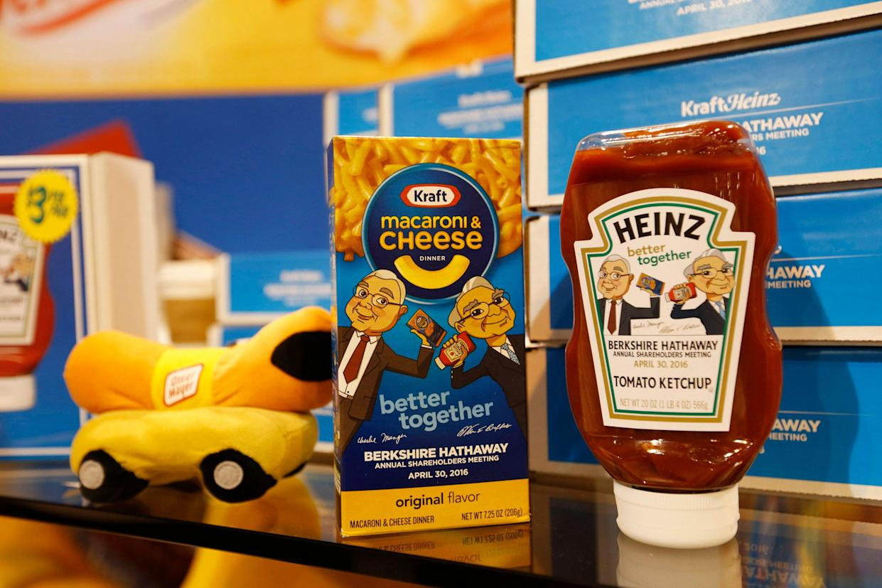 Commemorative items for sale are on display at the Kraft Heinz booth during the Berkshire Hathaway Annual Shareholders Meeting at the CenturyLink Center in Omaha, Nebraska, U.S. April 30, 2016. REUTERS/Ryan Henriksen