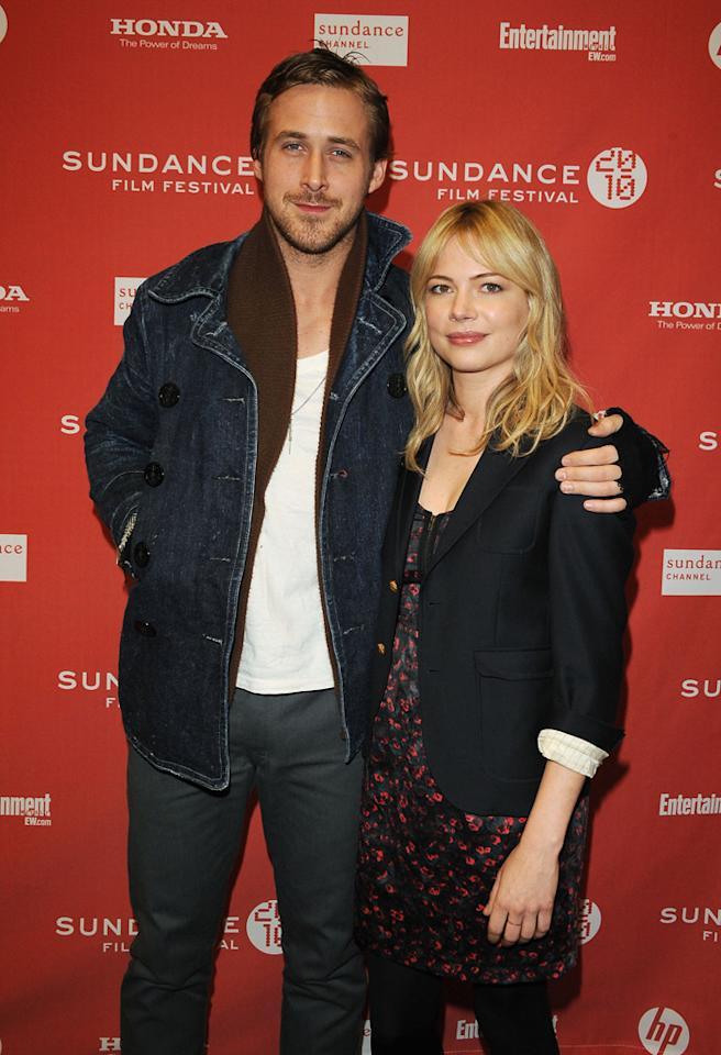 """<a href=""""http://movies.yahoo.com/movie/contributor/1804035474"""">Ryan Gosling</a> and <a href=""""http://movies.yahoo.com/movie/contributor/1800018861"""">Michelle Williams</a> at the 2010 Sundance Film Festival premiere of <a href=""""http://movies.yahoo.com/movie/1809945752/info"""">Blue Valentine</a> - 01/24/2010"""