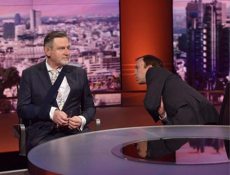 Britain's Secretary of State for Digital, Culture, Media and Sport, Matt Hancock, and Labour Party Shadow International Trade Secretary, Barry Gardiner, appear on the BBC's Marr Show in London, Britain, May 20, 2018. Jeff Overs/BBC/Handout via REUTERS