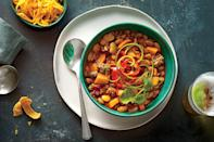 """<p><strong>Recipe: <a href=""""https://www.southernliving.com/recipes/turkey-sweet-potato-chili"""" rel=""""nofollow noopener"""" target=""""_blank"""" data-ylk=""""slk:Smoky Turkey-and-Sweet Potato Chili"""" class=""""link rapid-noclick-resp"""">Smoky Turkey-and-Sweet Potato Chili</a></strong></p> <p>Chipotle chiles add a kick, but sweet potatoes balance the heat. Adjust the spice in this homey chili by increasing or decreasing the amount of chipotle to suit your taste. Buy the large dried lima beans if you can find them. They really look amazing and also give the chili a decidedly Southern accent.</p>"""
