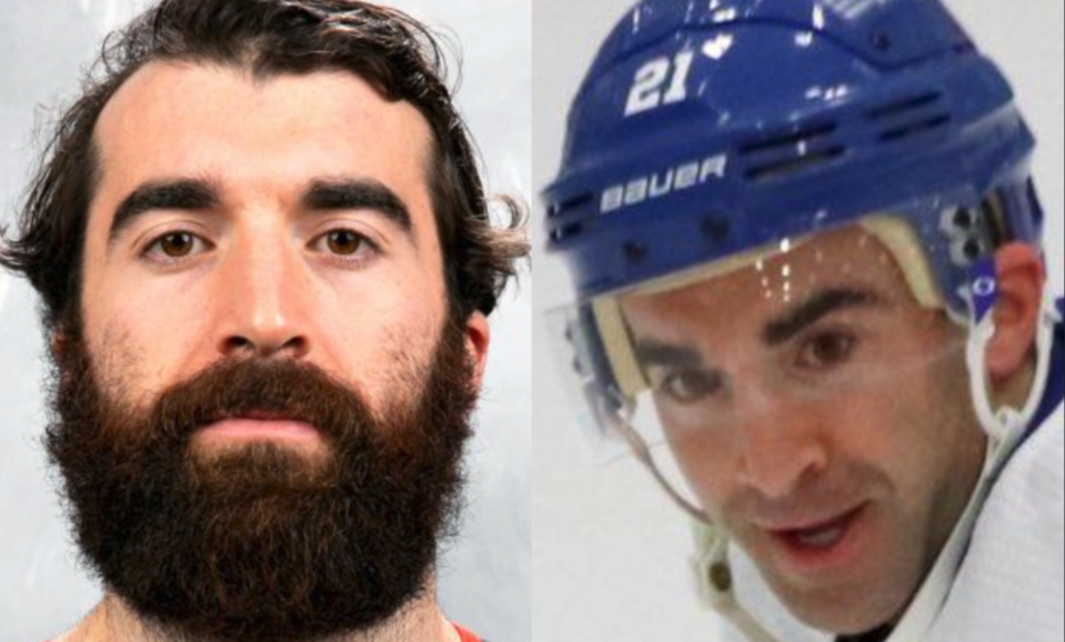 Kyle Palmieri had to shave off a few pounds before he hit the ice with the Islanders on Thursday. (Screengrabs via Twitter)