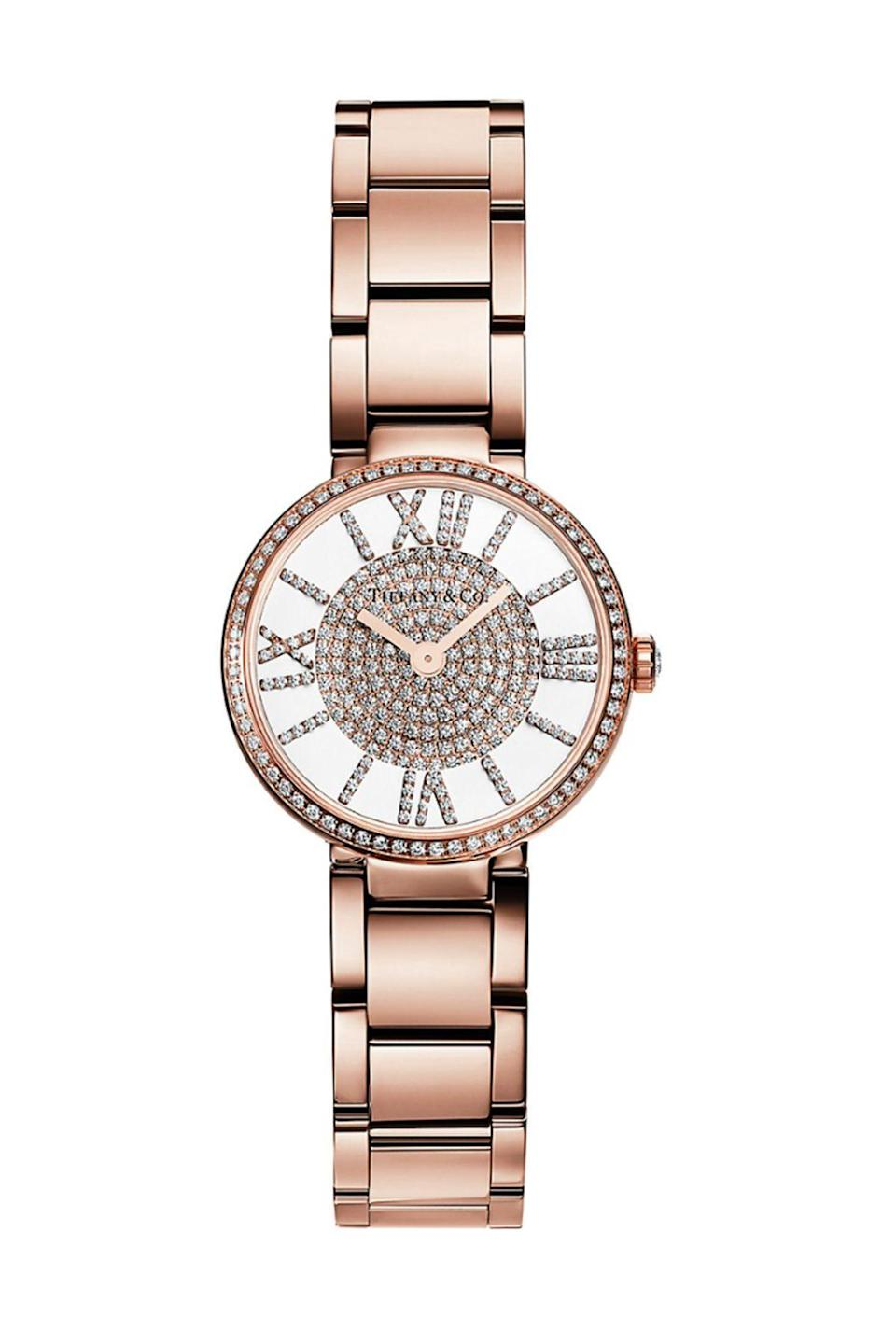 """<p><strong>Tiffany & Co.</strong></p><p>tiffany.com</p><p><strong>$30000.00</strong></p><p><a href=""""https://www.tiffany.com/watches/womens-watches/atlas-2-hand-24-mm-watch-69291708/"""" rel=""""nofollow noopener"""" target=""""_blank"""" data-ylk=""""slk:Shop Now"""" class=""""link rapid-noclick-resp"""">Shop Now</a></p><p>Rose gold with diamonds makes for a combination that is so fun and flattering you'll want to wear this piece every day.</p>"""