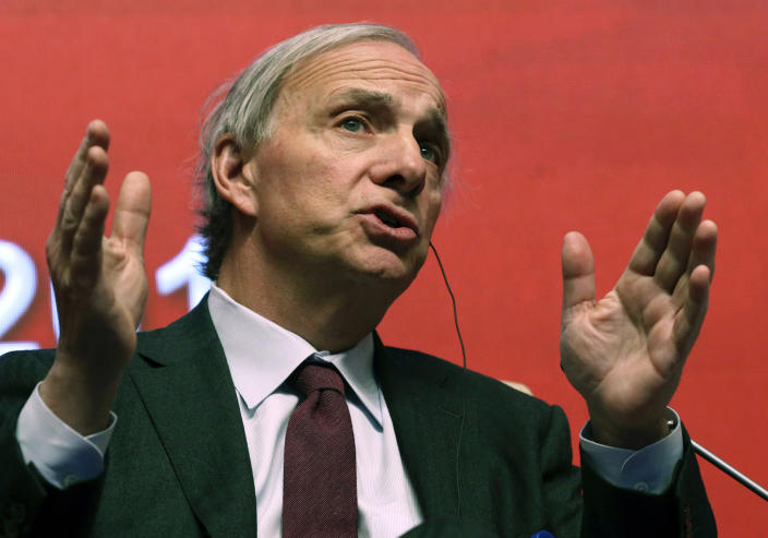 FILE - In this March 23, 2019 file photo, Bridgewater Associates Chairman Ray Dalio speaks during the Economic Summit held for the China Development Forum in Beijing, China. The donation by Dalio and his wife Barbara, of Greenwich, Conn., to the state of Connecticut is raising concerns about the transparency of the philanthropic gesture. So excited by the gift of $100 million for public education from the couple, Connecticut officials agreed to add $100 million in taxpayer money and create a nonprofit that won't be subject to the state's open records laws or ethics rules. Open government experts question how the public will know how their money is being spent. (AP Photo/Ng Han Guan, File)