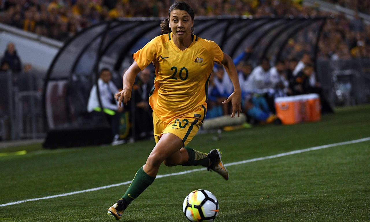 Australia's Sam Kerr in action against Brazil at Newcastle.