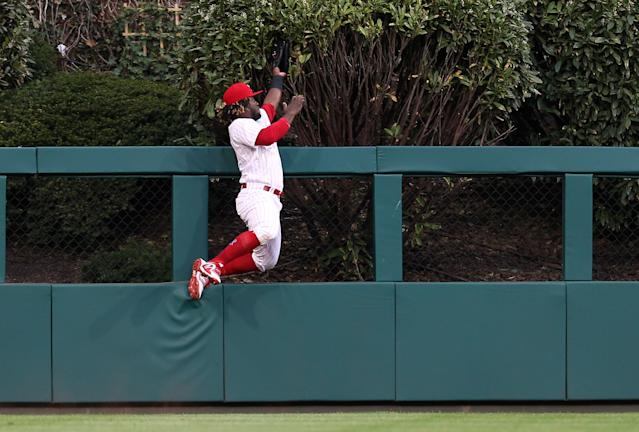 You aren't likely to see a better catch this year than what Odubel Herrera did to Freddie Freeman. (Getty Images)