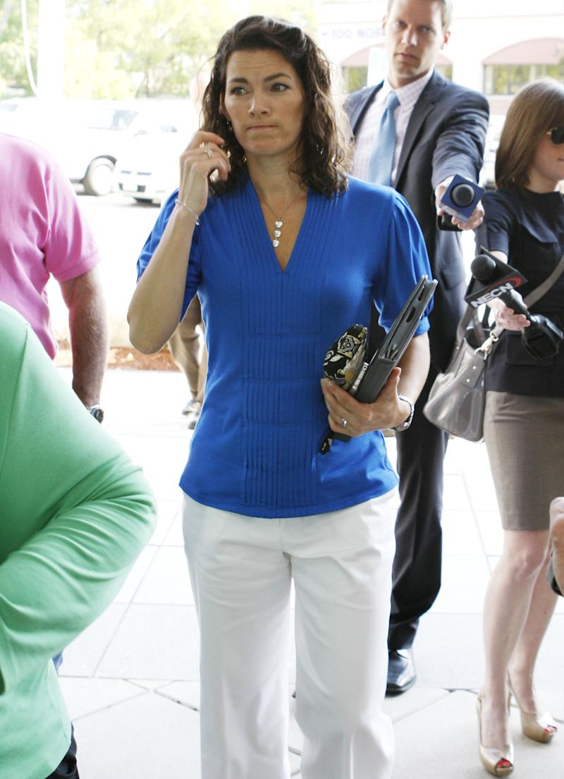 Former Olympic figure skater Nancy Kerrigan arrives at Middlesex Superior Court, in Woburn, Mass., Thursday, May 26, 2011. The jury found Mark Kerrigan, brother of Nancy Kerrigan, not guilty of manslaughter but guilty of assault and battery Wednesday in the death of their father Daniel Kerrigan. Sentencing is today. (AP Photo/Bizuayehu Tesfaye)