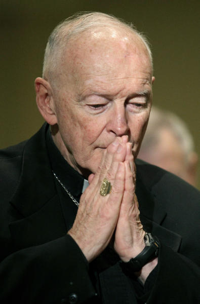 FILE - In this Nov. 14, 2011 file photo, Cardinal Theodore McCarrick prays during the United States Conference of Catholic Bishops' annual fall assembly in Baltimore. Allegations that the most respected U.S. cardinal repeatedly sexually abused both boys and adult seminarians has raised questions about who in the Catholic Church hierarchy knew, and what Pope Francis is going to do about it. If the accusations against Cardinal Theodore McCarrick bear out, will Francis revoke his title of cardinal, sanction him to a lifetime of prayer or even defrock him, the expected sanction if McCarrick were a mere priest? (AP Photo/Patrick Semansky, File)