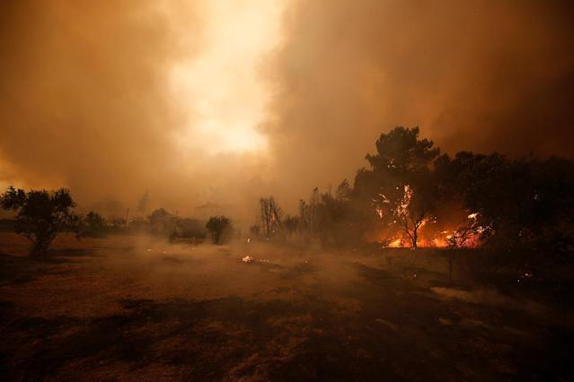 <p>Flames of an approaching forest fire are seen in the village of Carvoeiro, near Castelo Branco, Portugal, July 25, 2017. (Rafael Marchante/Reuters) </p>