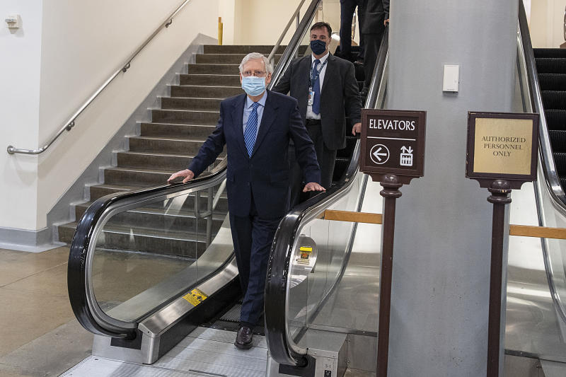 WASHINGTON, DC - OCTOBER 01: Senate Majority Leader Mitch McConnell (R-KY) walks through the Senate subway after a vote on the Senate floor at the Capitol in Washington on October 01, 2020 in Washington, DC. Senate Minority Leader Sen. Chuck Schumer forced a Senate vote to block Attorney General Barr and the Justice Department from supporting President Trump's lawsuit to overturn the Affordable Care Act in the Supreme Court. (Photo by Tasos Katopodis/Getty Images)