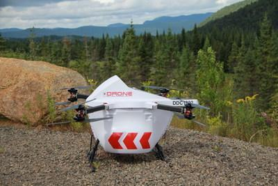 DDC's Sparrow drone delivery solution intended to limit person-to-person contact on the island communities' ferry services by transporting COVID-19 related cargo such as personal protection equipment (PPE), hygiene kits, test kits, test swabs, etc by drone as an alternative delivery method. (CNW Group/Drone Delivery Canada)