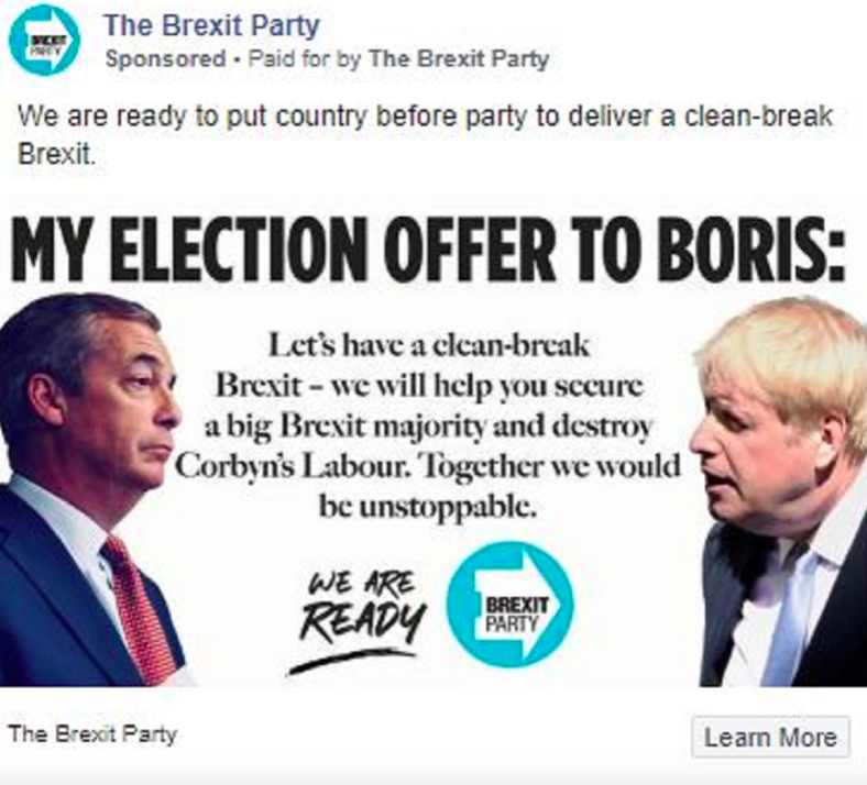 The Brexit Party have vowed to help the Tories win an election (Twitter)