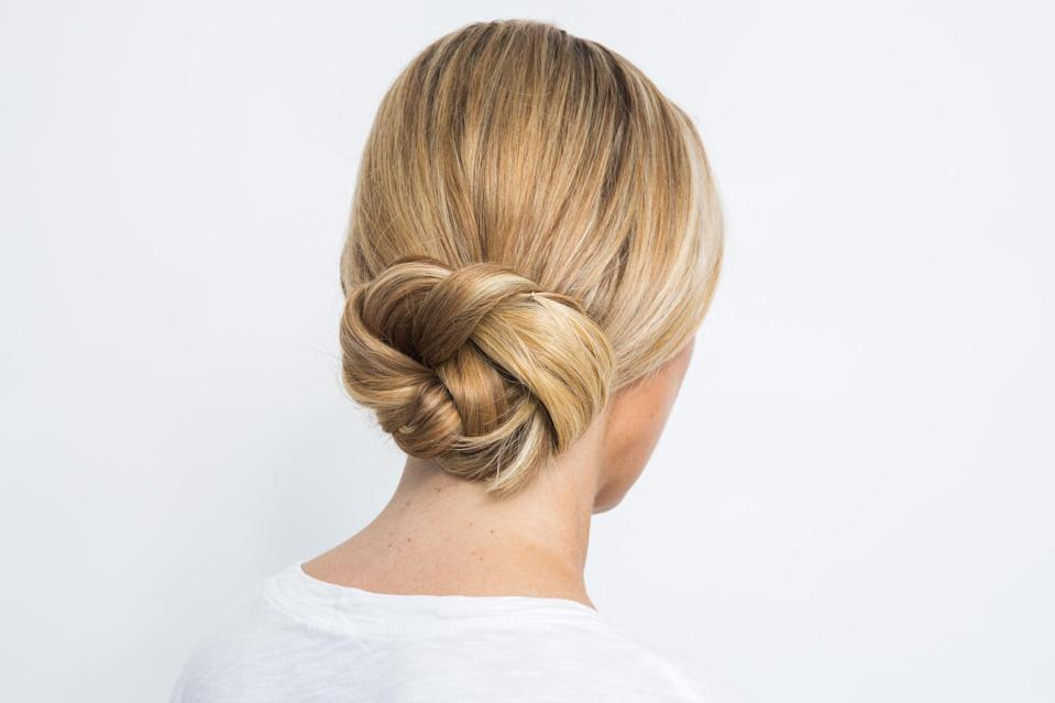 <p>This glamorous chignon is perfect for gym-to-work or work-to-drinks. No one will know this style only took you two minutes and a few bobby pins to complete. </p>