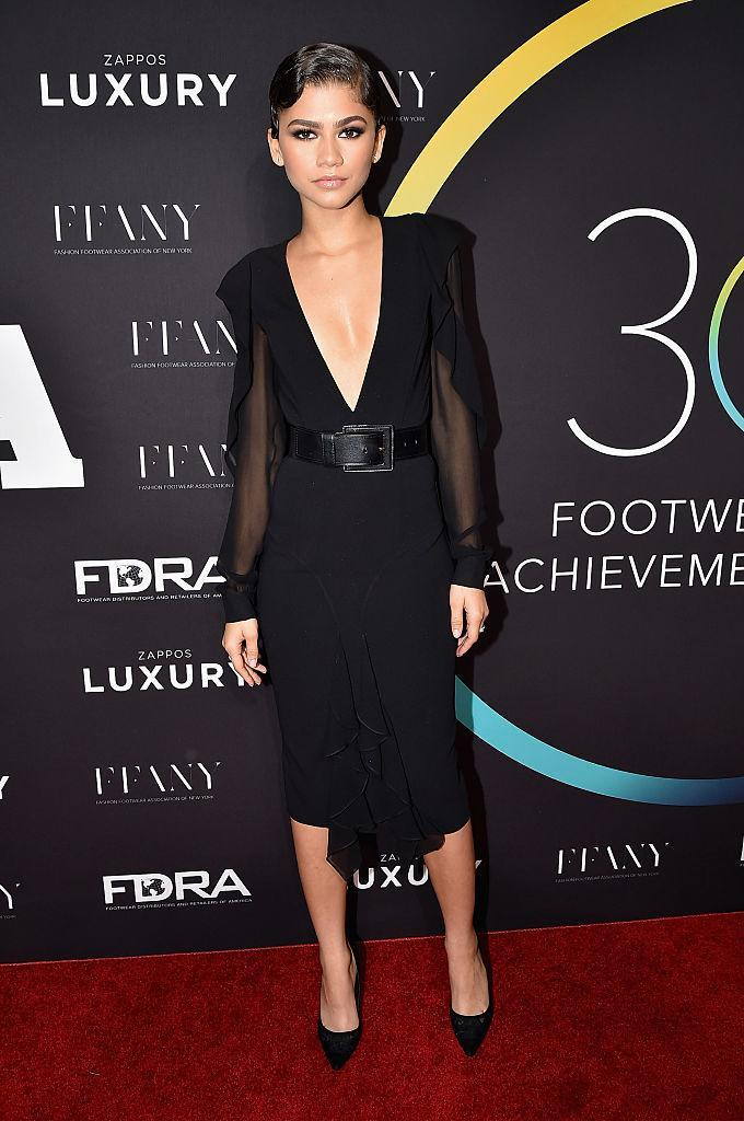 <p>Zendaya chose a low-cut LBD by go-to label Michael Kors for the Achievement Awards in New York. <em>[Photo: Getty]</em> </p>
