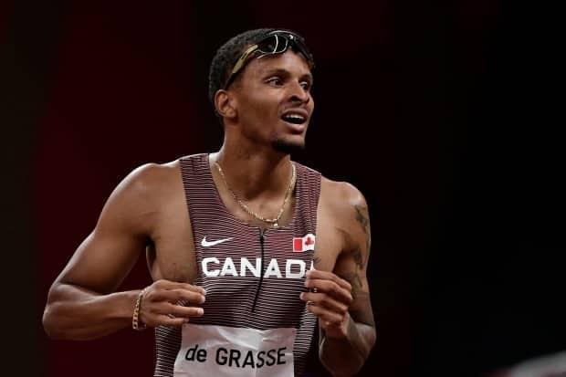 Andre De Grasse concluded his season with a first-place finish in a 100-metre race in Switzerland on Tuesday. (Javier Soriano/AFP via Getty Images - image credit)