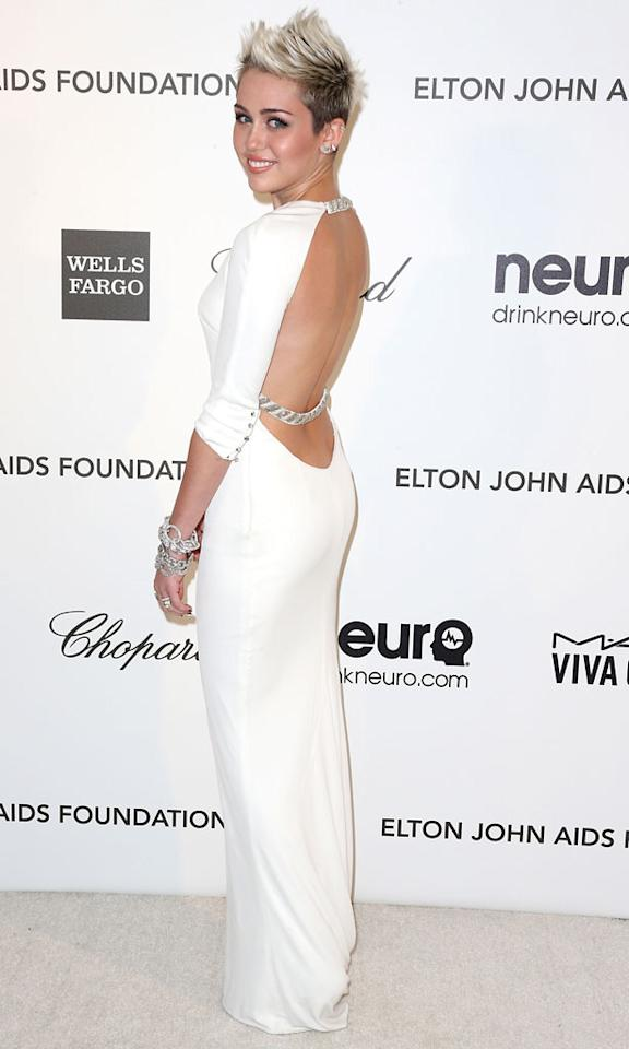 Miley Cyrus arrives at the 21st Annual Elton John AIDS Foundation's Oscar Viewing Party on February 24, 2013 in Los Angeles, California.