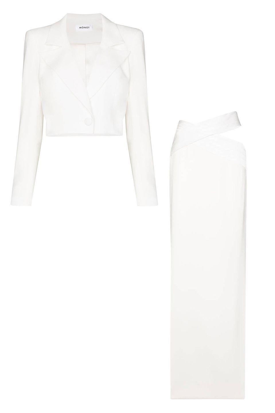 "<p>A cropped jacket and sexy, cutout maxi skirt is a late-night riff on suiting that will have all eyes on you—even if it's just you two.</p><p><em>Cropped jacket, $1,015, <a href=""https://www.farfetch.com/shopping/women/monot-cropped-single-breasted-blazer-item-15388746.aspx"" rel=""nofollow noopener"" target=""_blank"" data-ylk=""slk:farfetch.com"" class=""link rapid-noclick-resp"">farfetch.com</a></em> <a class=""link rapid-noclick-resp"" href=""https://go.redirectingat.com?id=74968X1596630&url=https%3A%2F%2Fwww.farfetch.com%2Fshopping%2Fwomen%2Fmonot-cropped-single-breasted-blazer-item-15388746.aspx&sref=https%3A%2F%2Fwww.harpersbazaar.com%2Fwedding%2Fbridal-fashion%2Fg35154193%2Fbest-wedding-suits-for-women%2F"" rel=""nofollow noopener"" target=""_blank"" data-ylk=""slk:SHOP"">SHOP</a></p><p><em>Cut-out skirt, $970, <a href=""https://www.farfetch.com/shopping/women/monot-cutout-maxi-skirt-item-15390473.aspx"" rel=""nofollow noopener"" target=""_blank"" data-ylk=""slk:farfetch.com"" class=""link rapid-noclick-resp"">farfetch.com</a></em> <a class=""link rapid-noclick-resp"" href=""https://go.redirectingat.com?id=74968X1596630&url=https%3A%2F%2Fwww.farfetch.com%2Fshopping%2Fwomen%2Fmonot-cutout-maxi-skirt-item-15390473.aspx&sref=https%3A%2F%2Fwww.harpersbazaar.com%2Fwedding%2Fbridal-fashion%2Fg35154193%2Fbest-wedding-suits-for-women%2F"" rel=""nofollow noopener"" target=""_blank"" data-ylk=""slk:SHOP"">SHOP</a></p>"