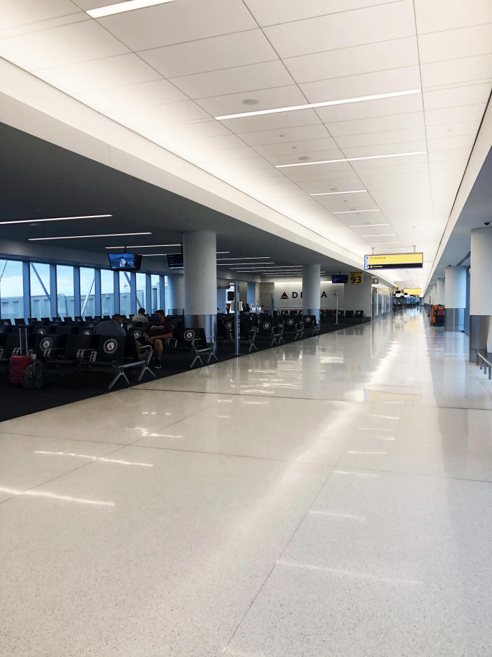 The usually bustling LaGuardia Airport was basically empty. (TODAY)