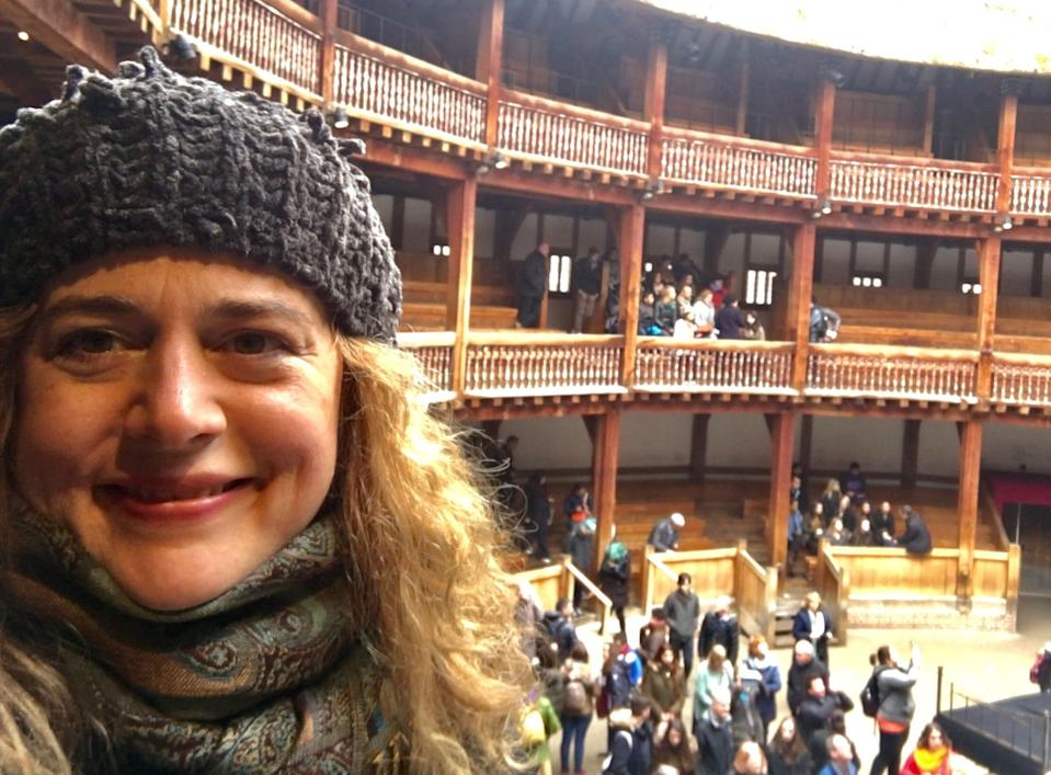 Caroline M. Kisiel at the Globe Theatre in London, in March 2017.