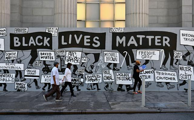A Black Lives Matter mural in New York City. (Angela Weiss/AFP via Getty Images)