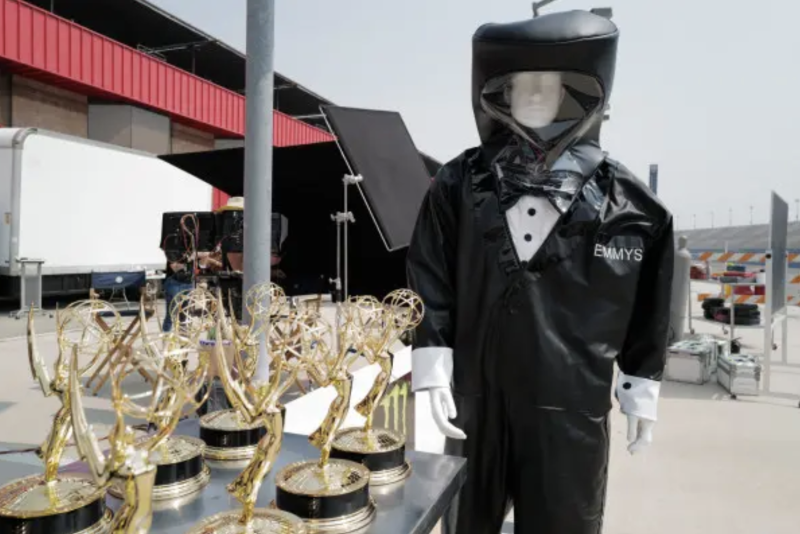 Emmys staffers in hazmat suits hand-delivered awards to all nominees at their homes. Photo: ABC.