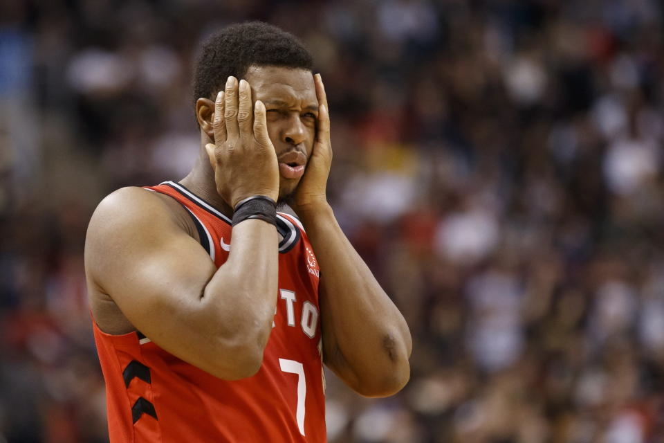 Toronto Raptors guard Kyle Lowry (7) reacts during the first half of an NBA basketball game against the Brooklyn Nets in Toronto, Saturday, Dec. 14, 2019. (Cole Burston/The Canadian Press via AP)