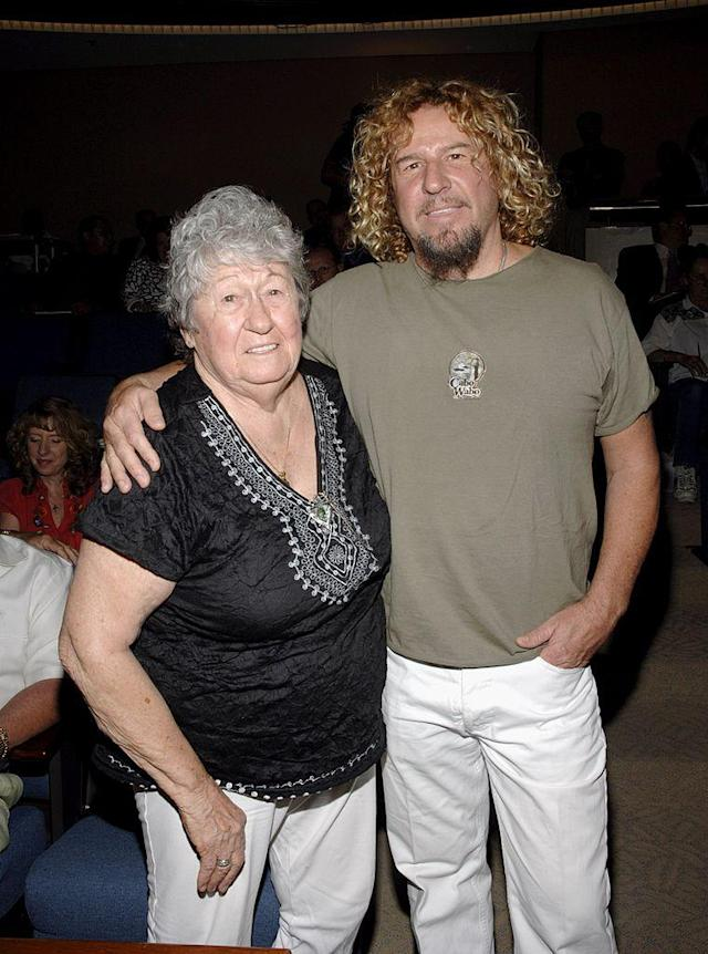 "<p>Gladys Hagar and her son, musician Sammy Hagar attends a ceremony marking ""Sammy Hagar Day"" May 23, 2006 in San Bernardino,California. </p>"