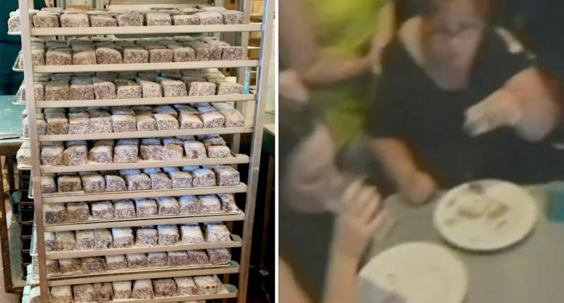 Contestants had to eat as many lamingtons as they could. Source: Facebook/Nine News