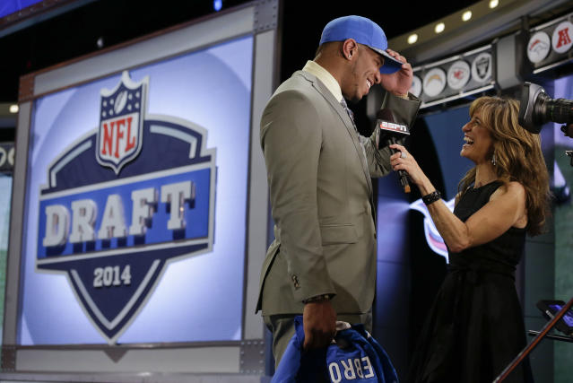 North Carolina tight end Eric Ebron is interviewed after being selected by the Detroit Lions as the 10th pick in the first round of the 2014 NFL Draft, Thursday, May 8, 2014, in New York. (AP Photo/Craig Ruttle)