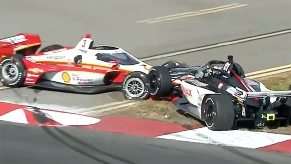 Scott McLaughlin, pictured here after crashing out of his first official race in IndyCar.