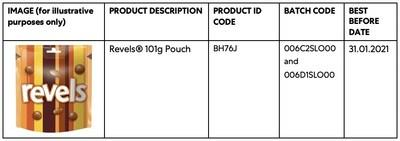 Mars Wrigley UK Takes the Precautionary Step of Recalling a Limited Amount of Revels® 101g Pouch in the UK