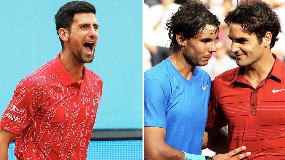 Novak Djokovic (pictured left) cheering and Rafael Nadal embracing Roger Federer (pictured right) after the match.