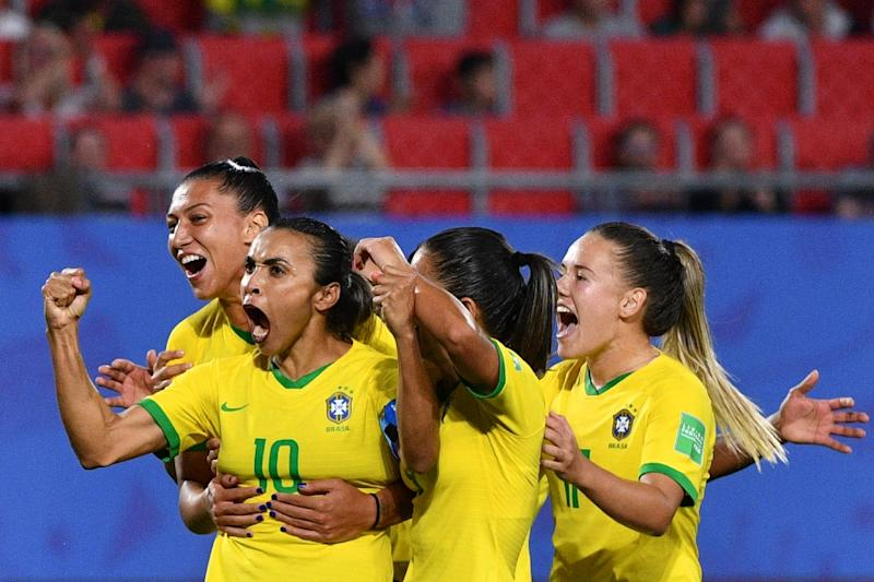 Brazil's No. 10 Marta broke the World Cup scoring record with her goal against Italy