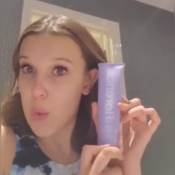 Millie Bobby Brown is being accused of faking her skincare routine to promote Florence by Mills products. (Photo: YouTube)