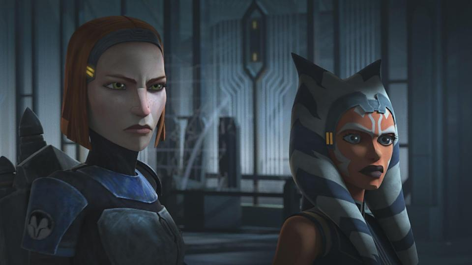 STAR WARS: THE CLONE WARS, from left: Bo-Katan Kryze (voice: Katee Sackhoff), Ahsoka Tano (voice: Ashley Eckstein), The Phantom Apprentice, (Season 7, ep. 710, aired Apr. 24, 2020). photo: Disney+ / Courtesy Everett Collection