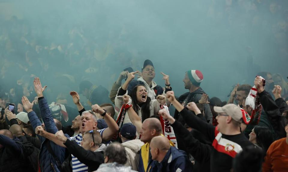 Crowd trouble dominated the early stages of the match.