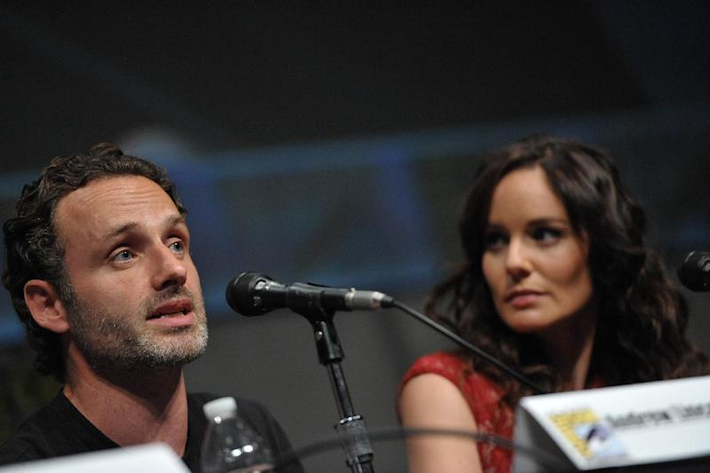 "COMMERCIAL IMAGE - Andrew Lincoln and Sarah Wayne Callies at AMC's ""The Walking Dead"" Autograph Signing and Panel on Friday July 13, 2012, in San Diego. (Photo by John Shearer/Invision for AMC/AP Images)"