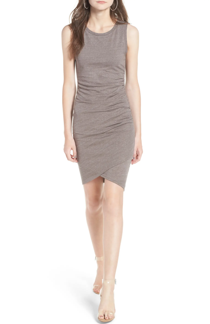 Leith Ruched Body-Con Tank Dress in Tan Dusk Heather. Image via Nordstrom.