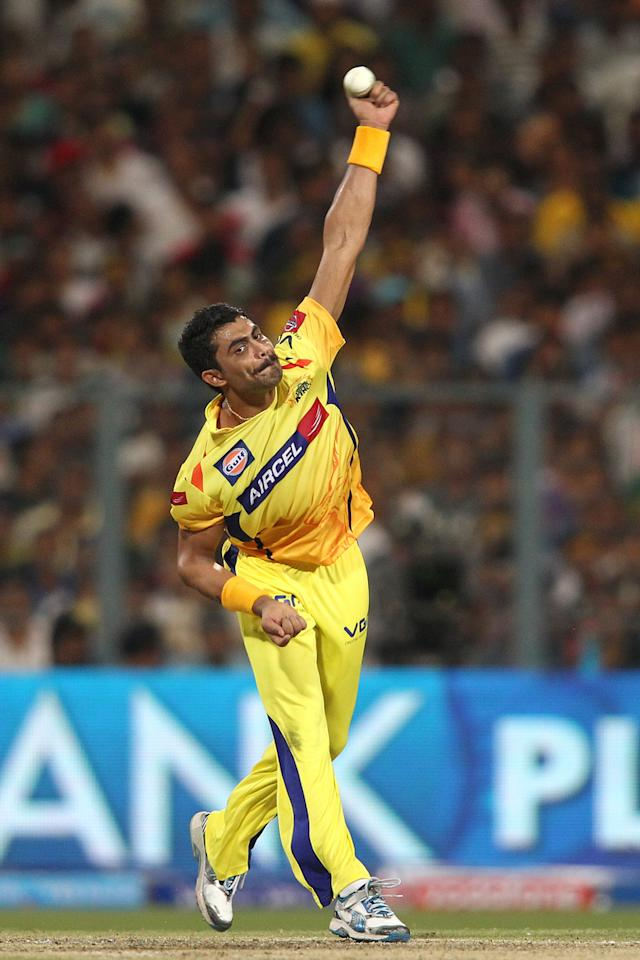 Ravindra Jadeja of Chennai Super Kings sends down a delivery during the Final of the Pepsi Indian Premier League between The Chennai Superkings and the Mumbai Indians held at the Eden Gardens Stadium in Kolkata on the 26th May 2013..Photo by Saikat Das-IPL-SPORTZPICS       ..Use of this image is subject to the terms and conditions as outlined by the BCCI. These terms can be found by following this link:..https://ec.yimg.com/ec?url=http%3a%2f%2fwww.sportzpics.co.za%2fimage%2fI0000SoRagM2cIEc&t=1490568317&sig=cd6y17IR26vuFRfEmC4ZeQ--~C