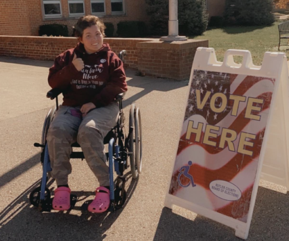 Caila Nagel is pictured in a wheelchair.