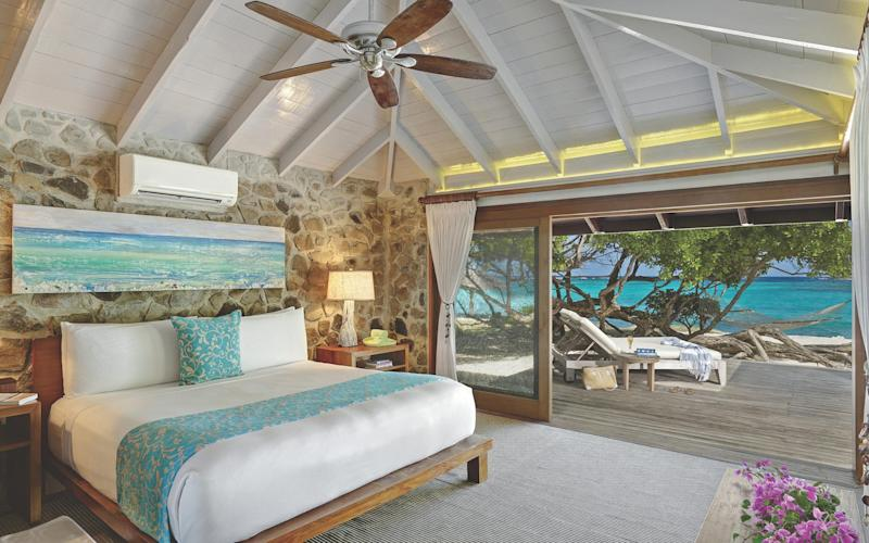 The bedroom at a cottage on Petit St Vincent