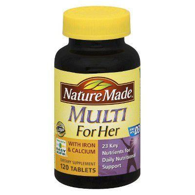"<p>$11</p><p><a rel=""nofollow"" href=""https://www.walmart.com/ip/Nature-Made-Multi-For-Her-with-Iron-Calcium-Dietary-Supplement-Tablet-90-CT/15754177""><strong>SHOP NOW</strong> </a></p><p>Another reputable brand that Moretti recommends, this supplement doesn't contain any artificial colors, flavors, or preservatives. It's also yeast- and <a rel=""nofollow"" href=""https://www.womansday.com/health-fitness/nutrition/advice/a6997/going-gluten-free/"">gluten-free</a>, which makes it a viable option for those suffer from celiac disease or <a rel=""nofollow"" href=""https://www.womansday.com/health-fitness/a22487425/yeast-infection-symptoms-in-women/"">yeast overgrowth</a>. </p>"
