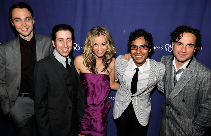 "Cast members of ""The Big Bang Theory"" (L-R) Jim Parsons, Simon Helberg, Kaley Cuoco, Kunal Nayyar, Johnny Galecki at the The Alzheimer's Association's ""A Night At Sardi's"" on March 4, 2009 at The Beverly Hilton Hotel, Beverly Hills, California"