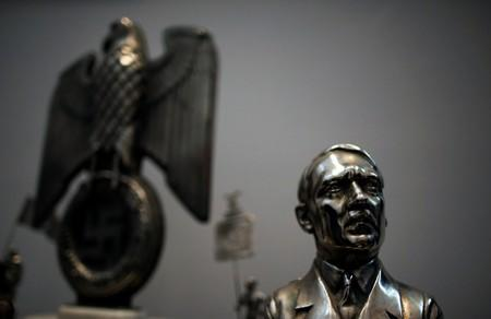 Bust of Hitler is displayed during a news conference at the Holocaust museum in Buenos Aires