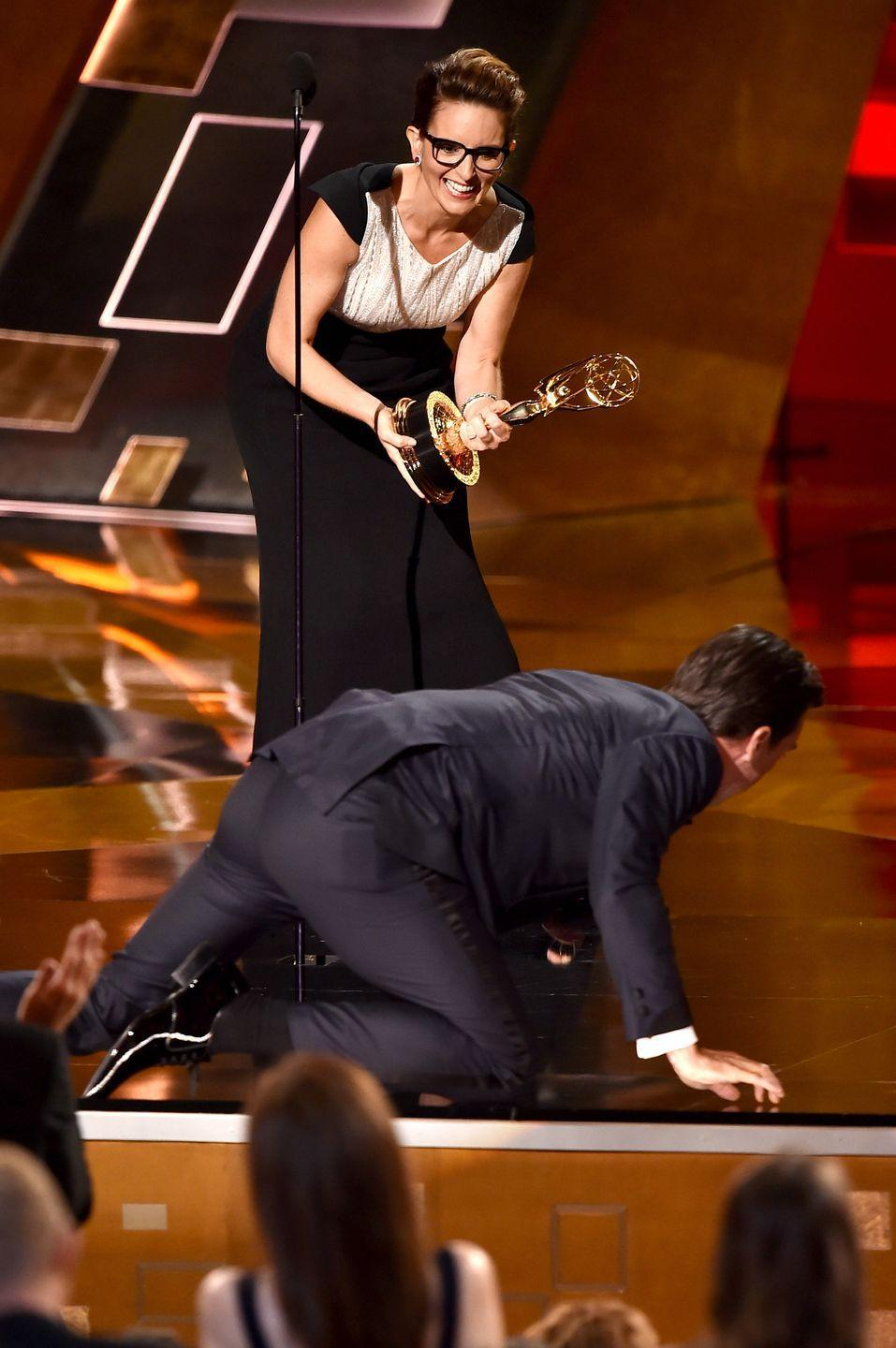 <p>In 2015, Jon Hamm finally won an Emmy for Outstanding Lead Actor in a Drama for his work as Don Draper after being nominated 16 times. As a bit, Hamm crawled up the steps and onto the stage. <br></p>