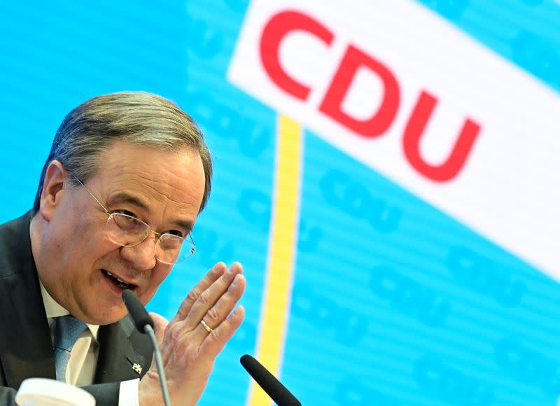 CDU chief Laschet gives a news conference in Berlin